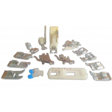 Presser feet SILVER : kit with 15 accessories