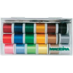 Box of thread embroidery Madeira of 18 reels of 200 m shiny