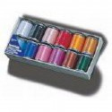Box of threads for embroidery Brother of 12 reels of 300 m shiny